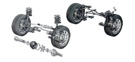 wheel axle and suspension system