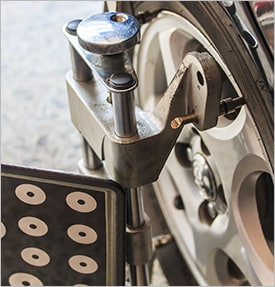 Close up of a wheel alignment